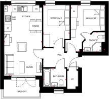 Floorplan for plots 196 - 199 The Courtyard