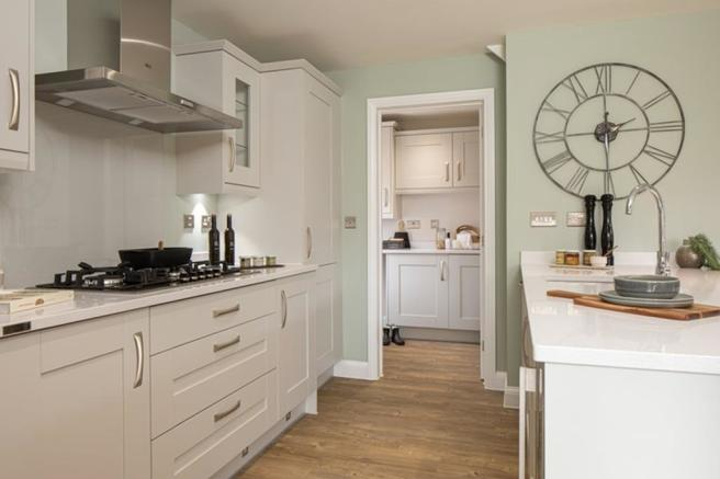 Kitchen and utility room in the Cornell, 4 bedroom home