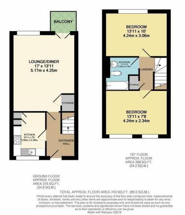 2 bedroom DUPLEX floorplan