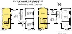 FLOORPLAN SHOWING PROPOSED EXTENSION IN YELLOW