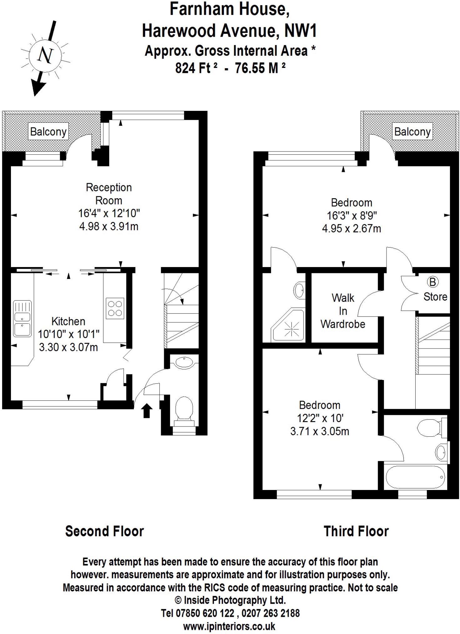 2 bedroom maisonette for sale in Farnham House Harewood Avenue – Harewood House Floor Plan
