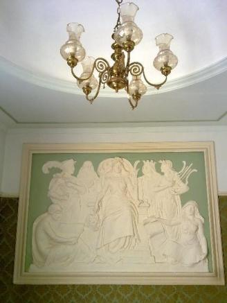 domed ceiling and plaster mural