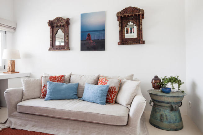 Living room wood floor Villa Gertrudis Ibiza