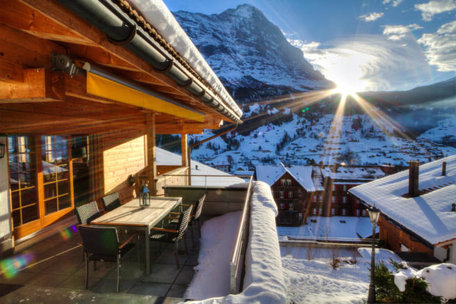 Balcony view outdoor dining area Chalet Im Maad Verbier