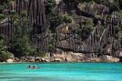 Kayaking below the cliffs