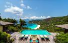 Aerial view swimming pool sun terrace Four Seasons Seychelles