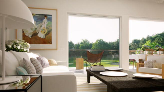 Living room sliding doors La Selva Apartments PGA Catalunya Girona