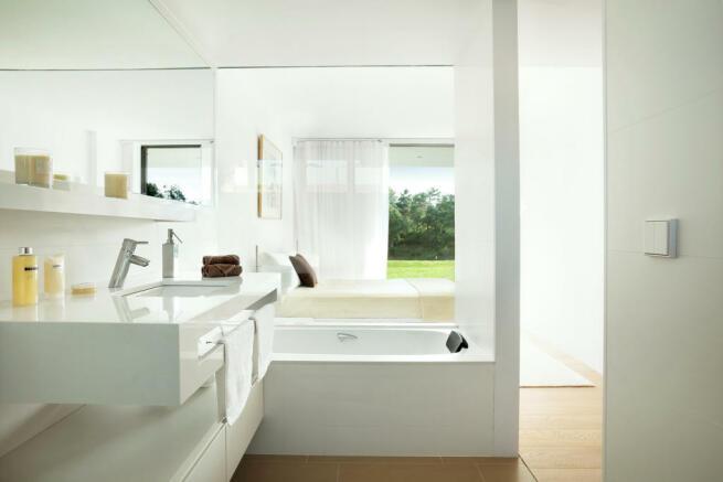 Bathroom bath tub porcelain La Selva Apartments PGA Catalunya Girona