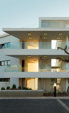 Entrance drive facade La Selva Apartments PGA Catalunya Girona
