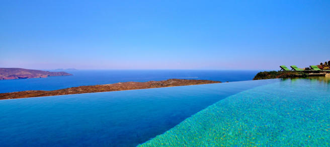 Infinity edge swimming pool ocean sea view Lia Mykonos