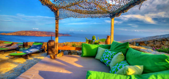Sun terrace ocean sea view Lia Mykonos