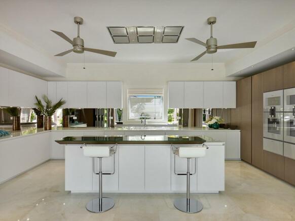 Kitchen breakfast bar stone floor Villa Bonita Barbados