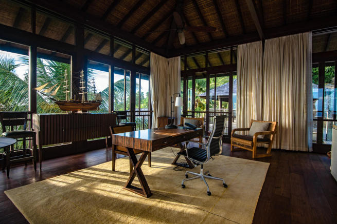 Office and writing desk in villa