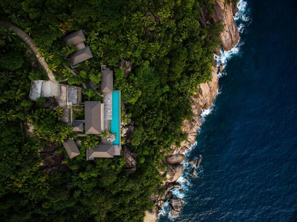 Aerial view of Kokomo in the Seychelles