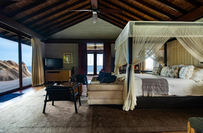 Grand bedroom with sea views