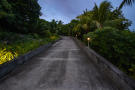 Private driveway at dusk
