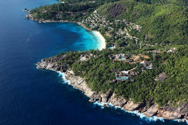 Aerial view Kokomo at Four Seasons Seychelles