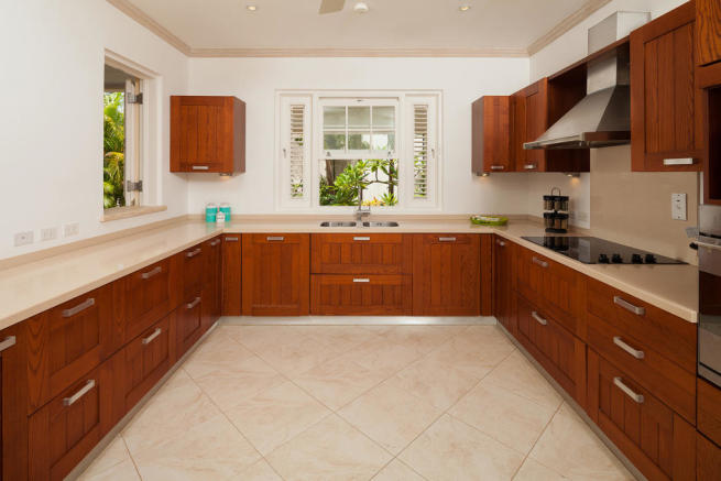 Kitchen stone floor wood wooden cabinets Battaleys Mews St Peter Barbados