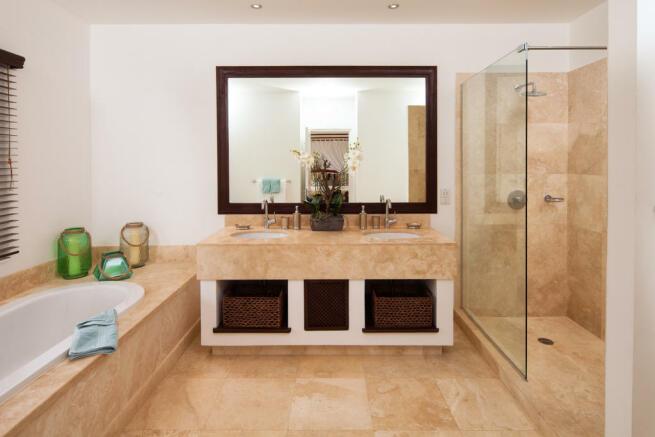 Bathroom marble twin sink bath tub shower Battaleys Mews St Peter Barbados