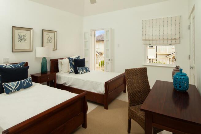 Guest bedroom twin stone floor Battaleys Mews St Peter Barbados