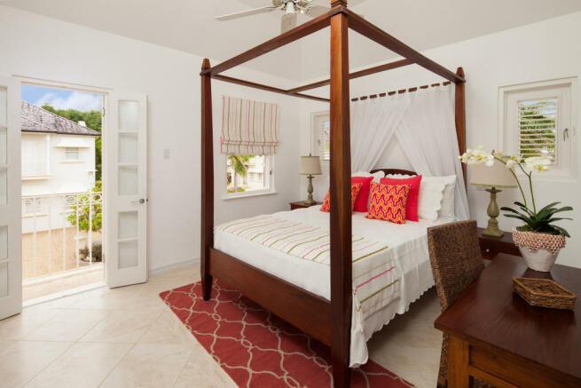 Bedroom guest balcony doors Battaleys Mews St Peter Barbados