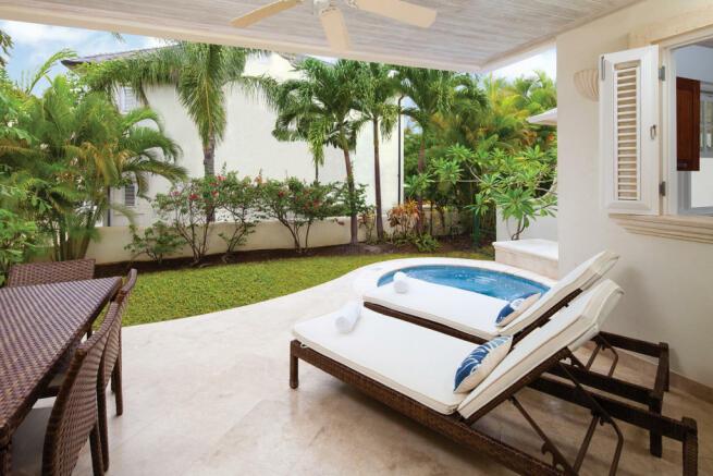 Terrace covered garden outdoor Battaleys Mews St Peter Barbados
