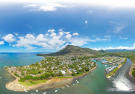 Aerial view La Balise Marina Mauritius