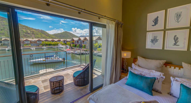 Bedroom sliding doors balcony La Balise Marina Mauritius