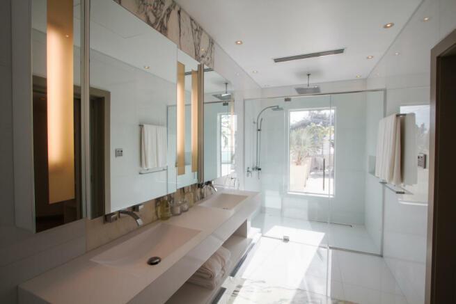 Bathroom shower stone floor Footprints Barbados