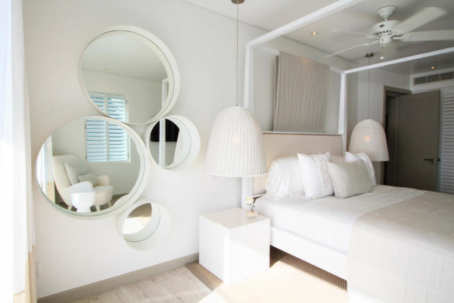 Bedroom white fan guest Footprints Barbados