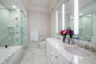 Bathroom twin sink bath tub shower marble stone floor Central Park West New York