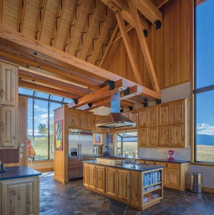Double height kitchen in Montana ranch