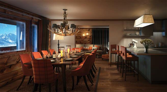 Dining room kitchen breakfast bar open plan wood floor Rosalp Residences Verbier