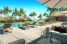CGI of sun lounger terrace and pool area at St Antoine Mauritius