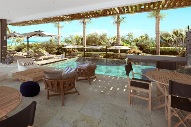 Pool and covered terrace area at St Antoine Mauritius