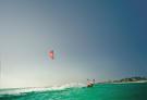 Kite surfing off coast of Mauritius