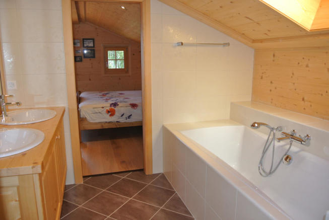 En suite bathroom in attic at Chalet Alina