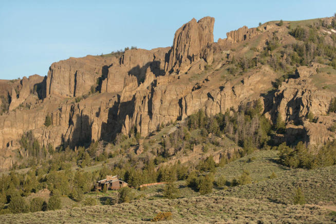 Ranch below rocky mountain crop
