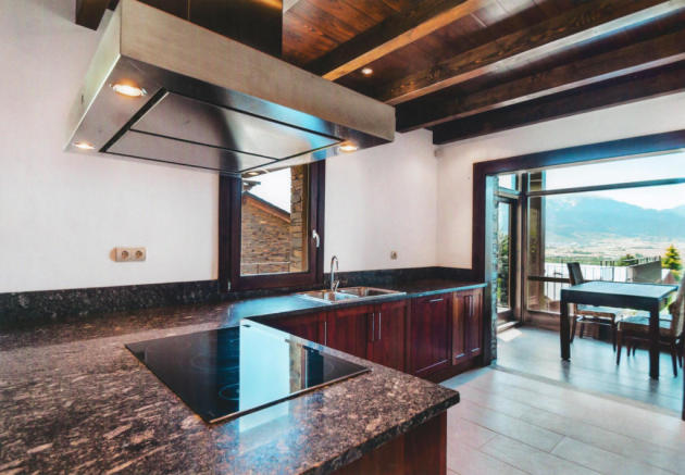Kitchen with mountain views at Chalet Andorra