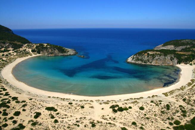 Aerial view of Voidokilia Beach in Costa Navarino
