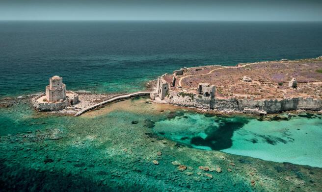 Costa Navarino Methoni Castle surrounded by sea