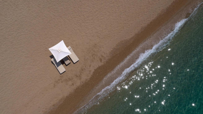 Aerial view of Nvarino Dunes Beach at Costa Navarino
