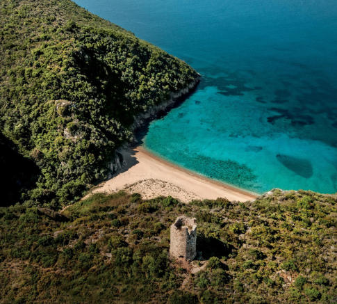 Aerial view of Costa Navarino Messinia castle