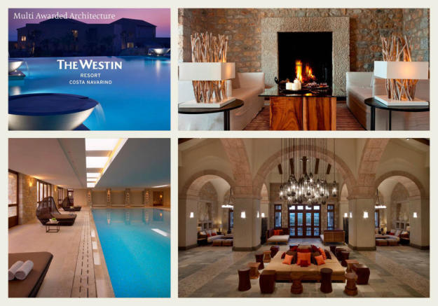 The Westin hotel image collage at Costa Navarino