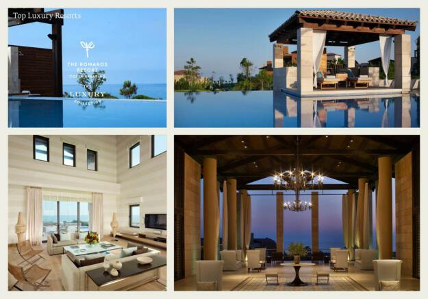 The Romanos hotel image collage at Costa Navarino