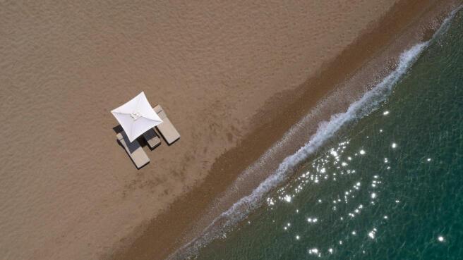Aerial view of Nvarino Dunes Beach at Costa Navarino