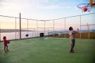 Mini basketball court with sea views