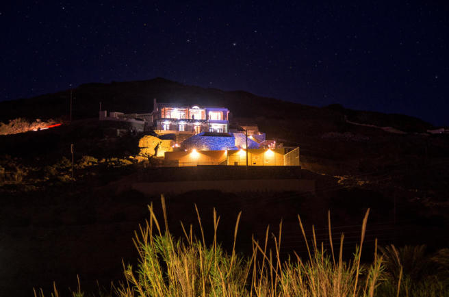 Villa from distance at night