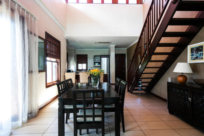 Dining area with stairs to top floor