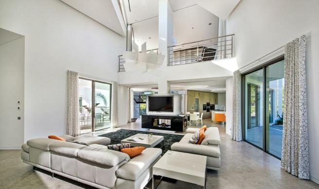 Modern sitting room with mezzanine